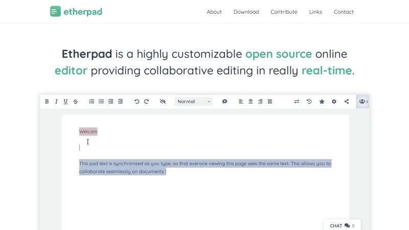 Screenshot von etherpad.org