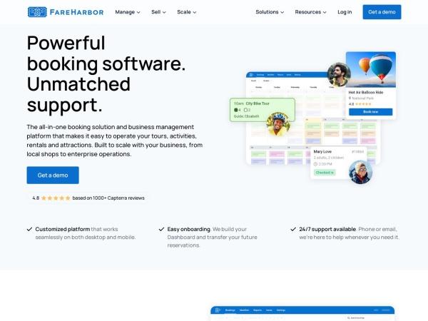 Screenshot of fareharbor.com