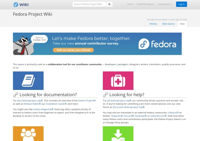 Screenshot of fedoraproject.org