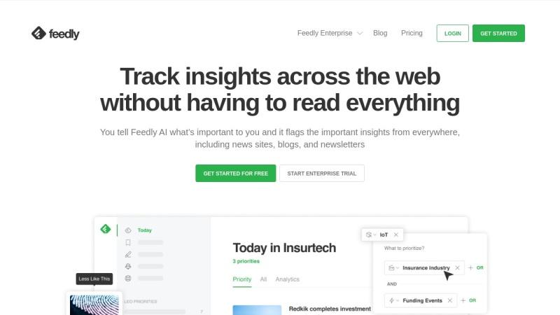 Screenshot von feedly.com