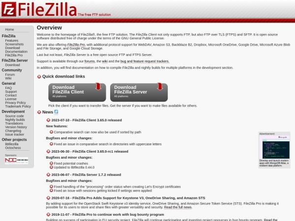 Screenshot von filezilla-project.org