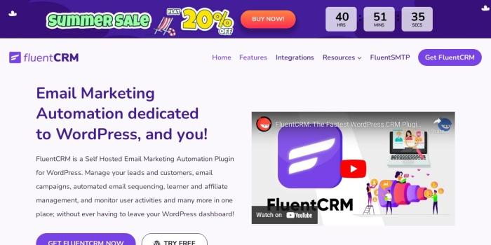 Screenshot of fluentcrm.com