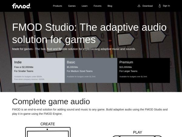 Screenshot of fmod.com