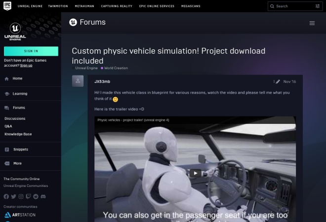 Screenshot of forums.unrealengine.com