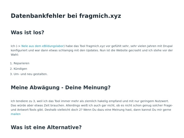 Screenshot von fragmich.xyz