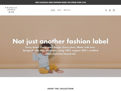 Screenshot of frankiejonesthelabel.com