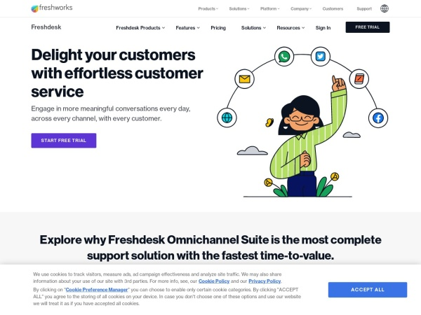 Screenshot of freshdesk.com