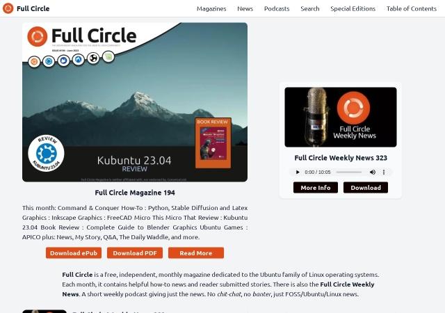 Screenshot of fullcirclemagazine.org