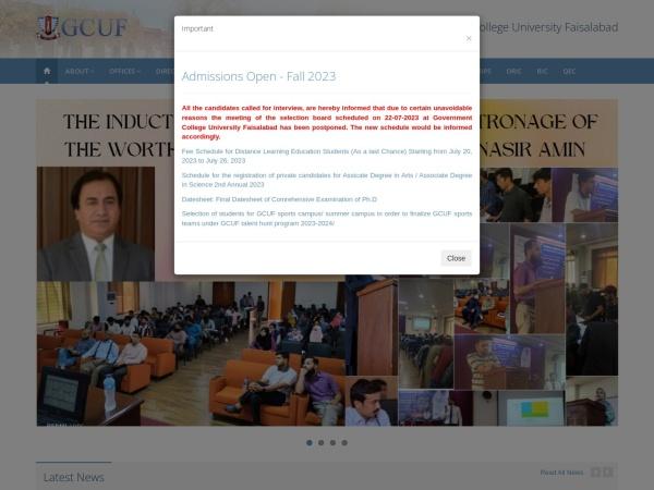 Screenshot of gcuf.edu.pk