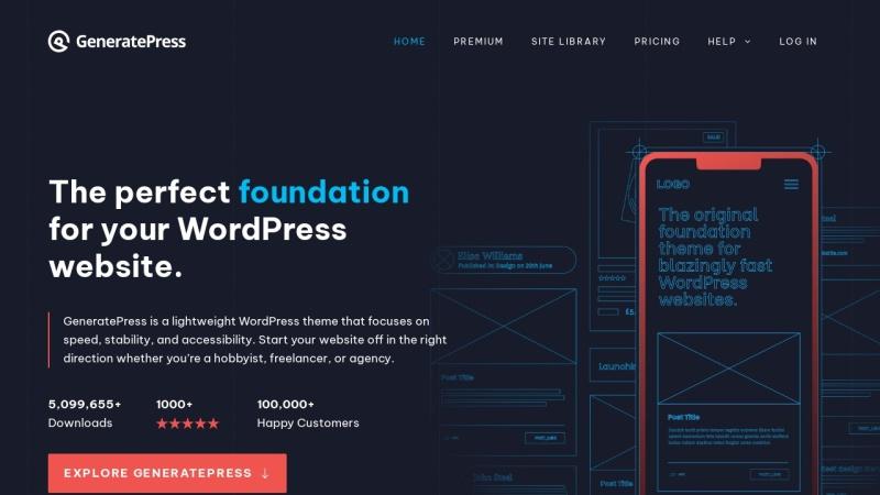 Screenshot von generatepress.com
