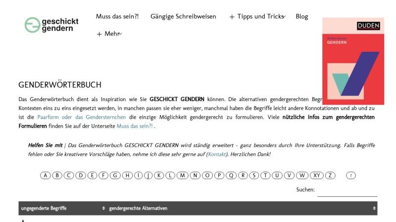Screenshot von geschicktgendern.de