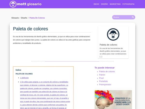 Captura de pantalla de glosario.mott.pe