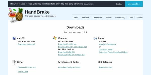 Screenshot of handbrake.fr