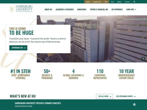 Screenshot of harrisburgu.edu