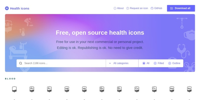 Screenshot of healthicons.org