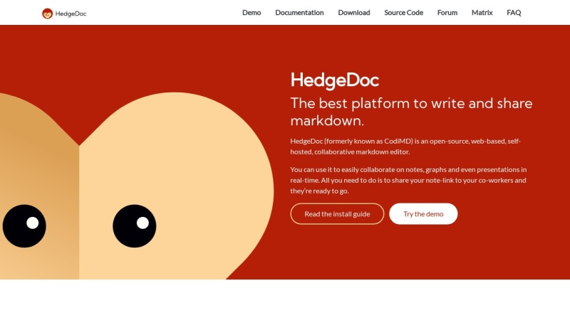 Screenshot von hedgedoc.org