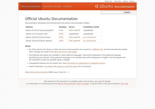 Screenshot of help.ubuntu.com