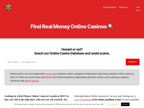 Screenshot of honestcasinos.com