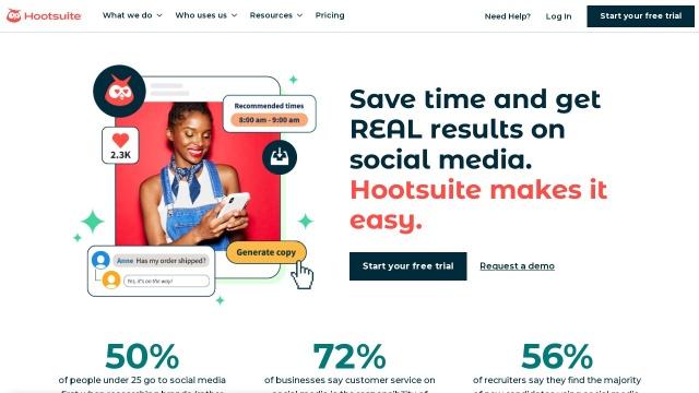 Screenshot of hootsuite.com