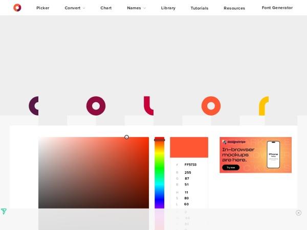 Screenshot of htmlcolorcodes.com