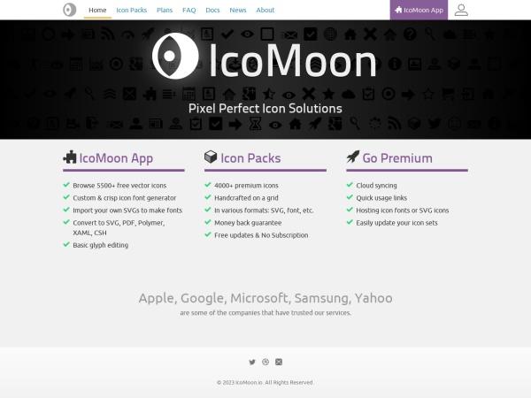 Screenshot of icomoon.io