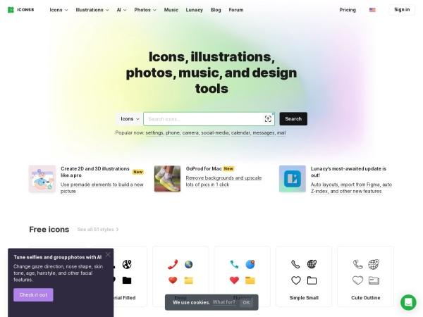 Screenshot of icons8.com