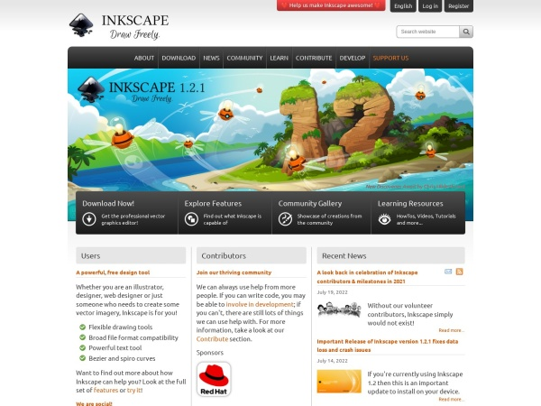 Screenshot of inkscape.org
