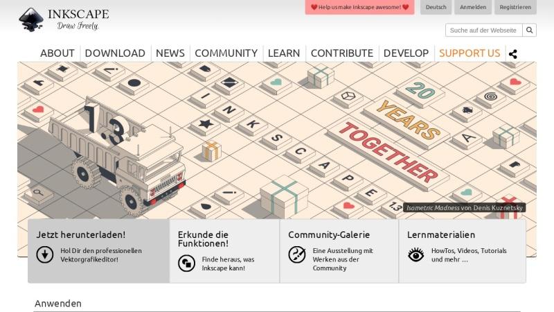 Screenshot von inkscape.org