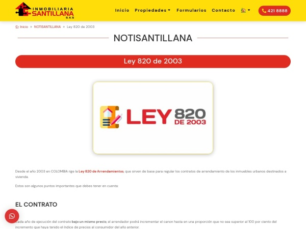 Captura de pantalla de inmobiliariasantillana.co