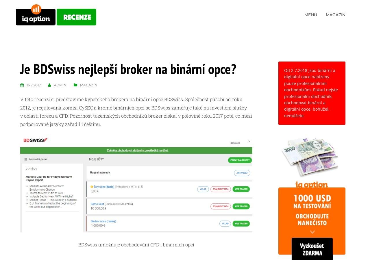 Je BDSwiss nejlepší broker na binární opce? (Zdroj: Wordpress.com)