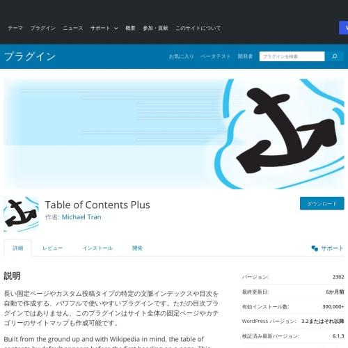 WordPressプラグイン「Table of Contents Plus」自動目次作成