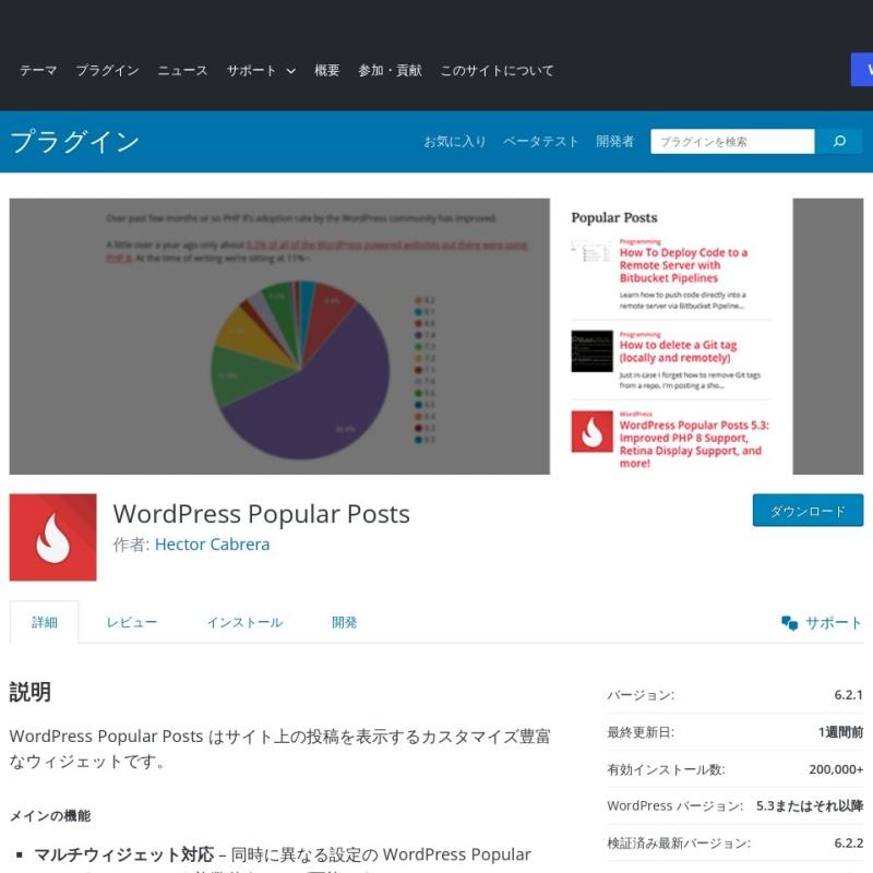 「WordPress Popular Posts」は人気の記事を表示するプラグイン