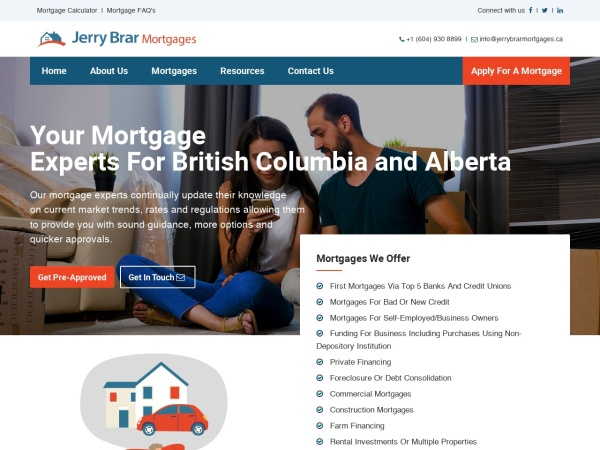 Screenshot of jerrybrarmortgages.ca