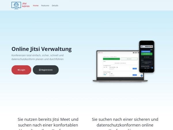 Screenshot von jitsi-admin.de