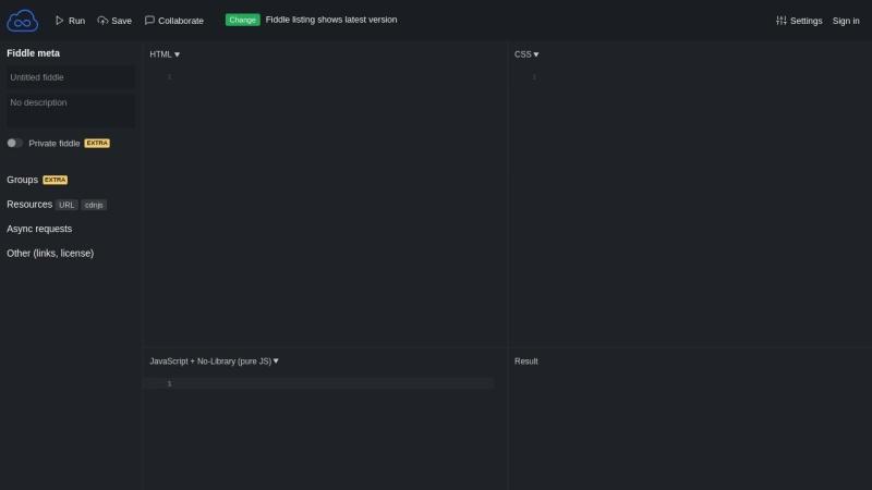 Screenshot of jsfiddle.net