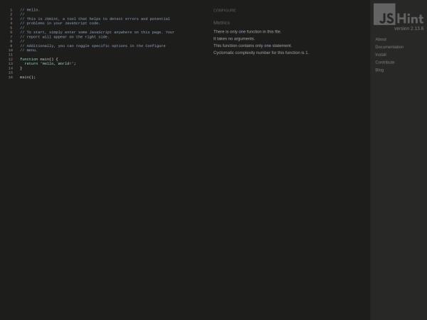 Screenshot of jshint.com