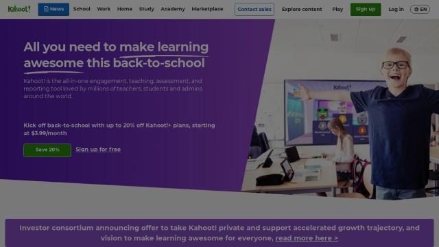 Screenshot of kahoot.com
