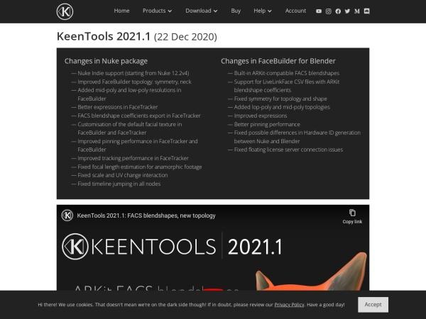 Screenshot of keentools.io