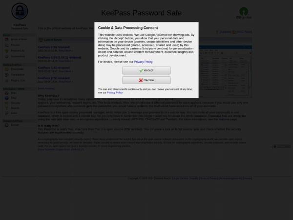 Screenshot von keepass.info