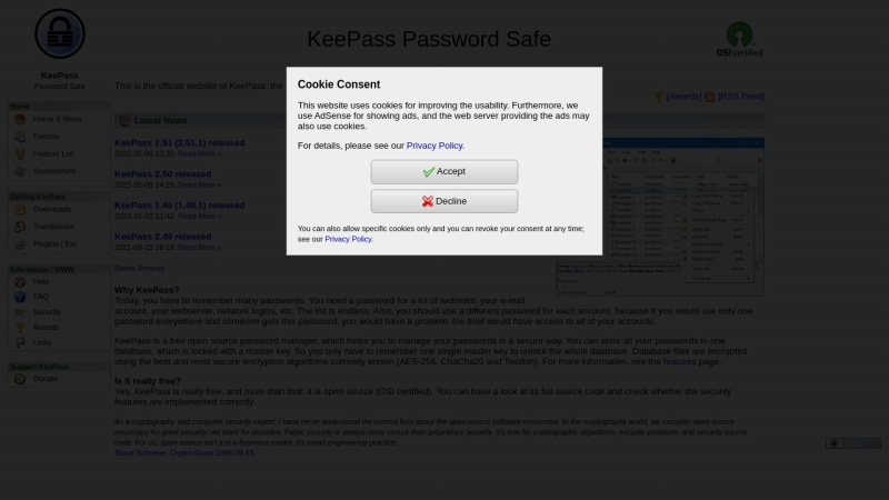 Screenshot von keepass.info