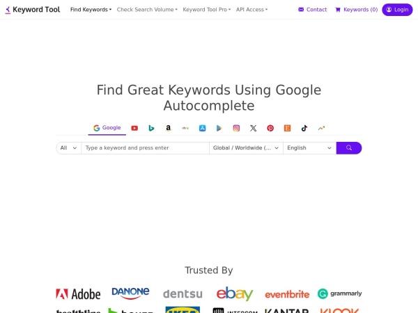 Screenshot of keywordtool.io