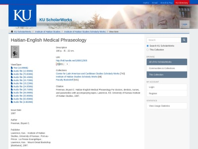 Screenshot of kuscholarworks.ku.edu