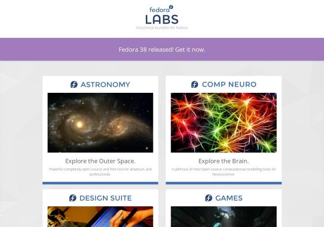 Screenshot of labs.fedoraproject.org