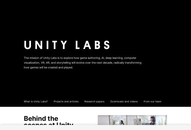 Screenshot of labs.unity.com