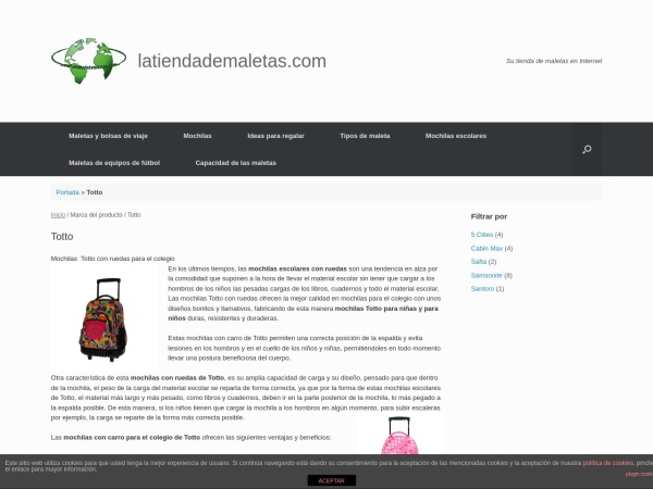 Captura de pantalla de latiendademaletas.com