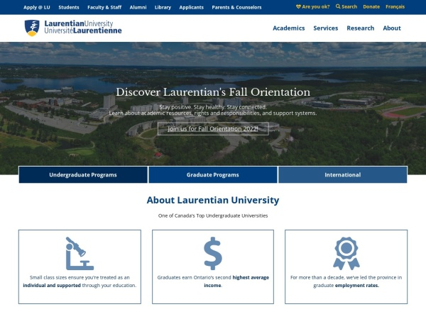 Screenshot of laurentian.ca