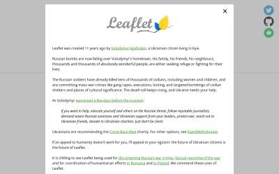 Screenshot of leafletjs.com