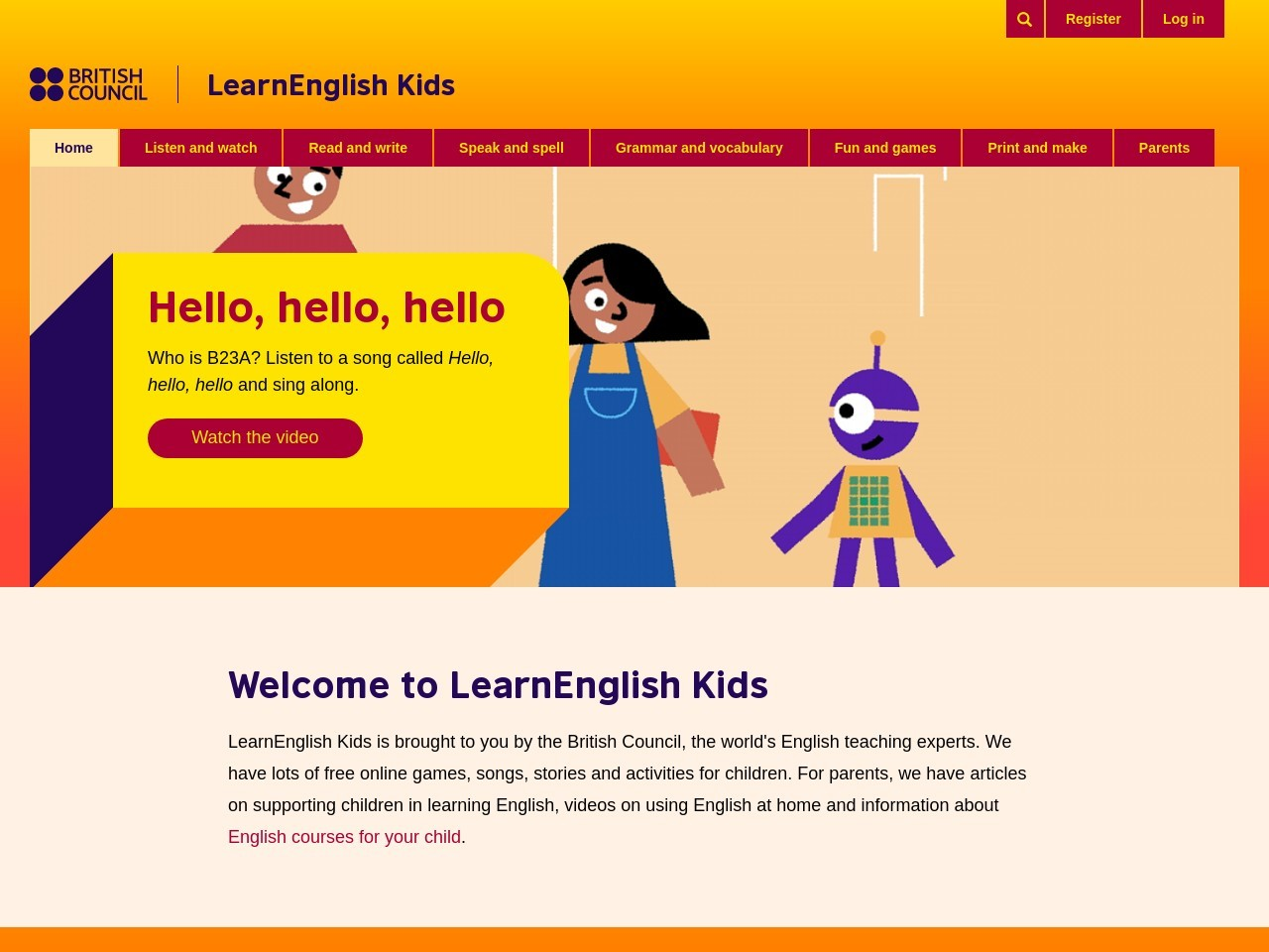 Screenshot of learnenglishkids.britishcouncil.org