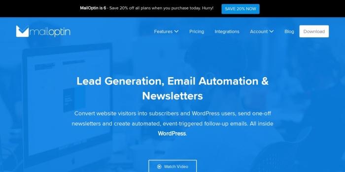 Screenshot of mailoptin.io