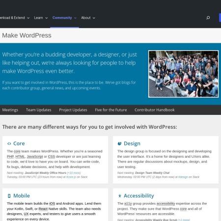 Screenshot of make.wordpress.org